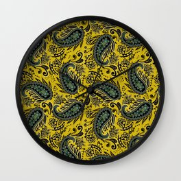 Meredith Paisley - Goldenrod Yellow Wall Clock