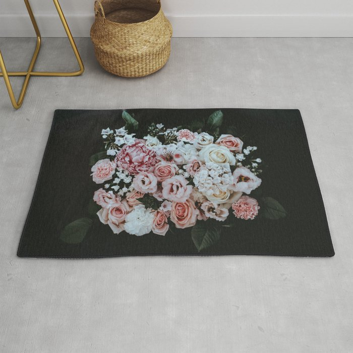 Beautiful Bouquet Of Flowers Pink White Red Black Background Rug By Enshape