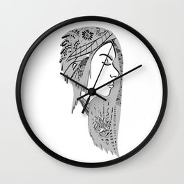 Zentangle portrat 1 Wall Clock