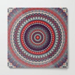 Red Skies Mandala Metal Print