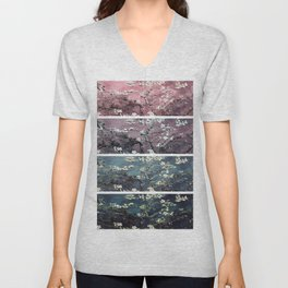 Vincent Van Gogh Almond Blossoms Panel Dark Pink Eggplant Teal Unisex V-Neck