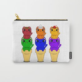 Rainbow Kitty Cat Ice Cream Cone Carry-All Pouch