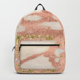 Marble - Rose Gold Shimmer Marble with Yellow Gold Glitter Backpack