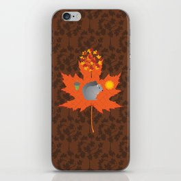 Grey Squirrel Autumn Pattern iPhone Skin