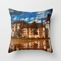 castle in the sky Throw Pillows featuring Castle by DistinctyDesign