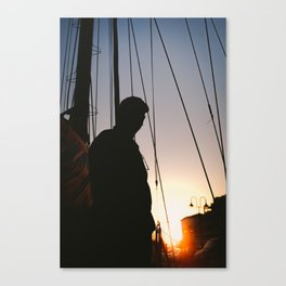 Preparing the ship for the night Canvas Print