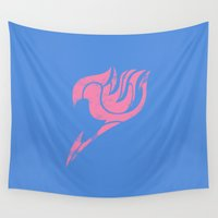 fairy tail Wall Tapestries featuring Fairy Tail Segmented Logo Lucy by JoshBeck