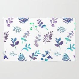 Modern hand painted teal lavender watercolor leaves Rug