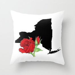 New York Silhouette and Flower Throw Pillow