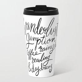 Wanderlust Words - Black Brush Lettering Travel Mug