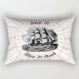 Ship It, Ship It Good - Vintage Woodcut - Boat - Ocean - Sea Rectangular Pillow