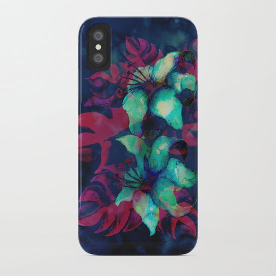 Tropical Flower - Blue Lilly iPhone Case