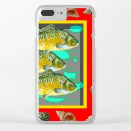 SEA SHELLS YELLOW-RED FISH AQUATIC ART VIGNETTE Clear iPhone Case