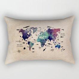 world map oceans life with text Rectangular Pillow