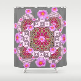 Grey Abstract Pink Roses Floral Pattern Shower Curtain