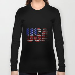 Distressed USA Flag Long Sleeve T-shirt