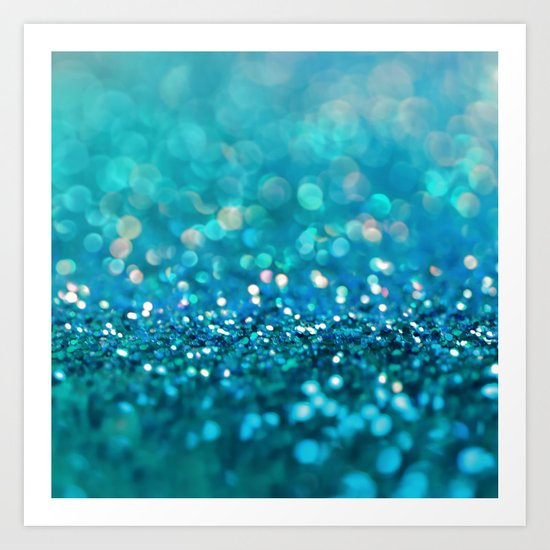 Aqua turquoise blue shiny glitter print effect- Sparkle Luxury Backdrop Art Print