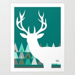 Deer Head Geometric Triangles | teal turquoise Art Print