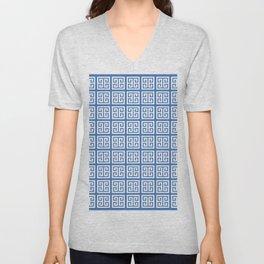 Azure Blue Greek Key Pattern Unisex V-Neck