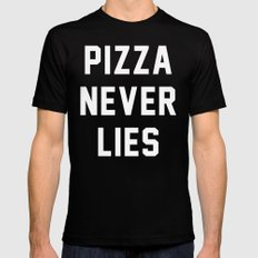 Pizza Never Lies MEDIUM Black Mens Fitted Tee
