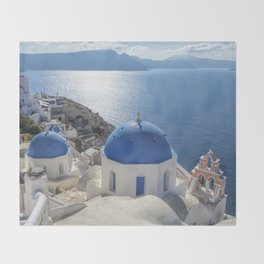 Santorini Island with churches and sea view in Greece Throw Blanket