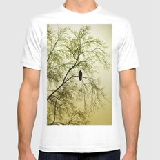 The Sentinal ~ Abstract White Mens Fitted Tee MEDIUM