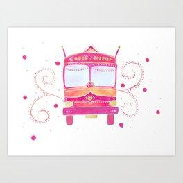 Groovy Indian truck - pink palette Art Print