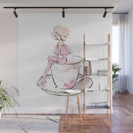 Girl in pink cup of tea Wall Mural
