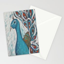 Blue Peacock with Blue Stationery Cards