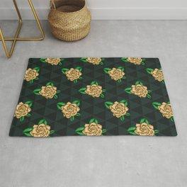Celtic Green Gardenia Flower on Triangles Rug