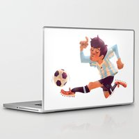 messi Laptop & iPad Skins featuring Lionel Messi, Argentina Jersey by Mike Laughead