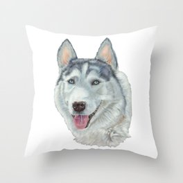 Siberian husky - Blue eyes Throw Pillow