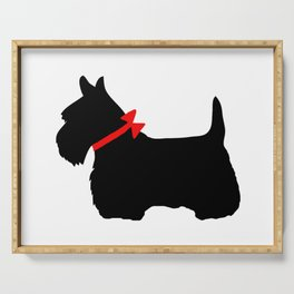 Scottie Dog with Red Bow Serving Tray