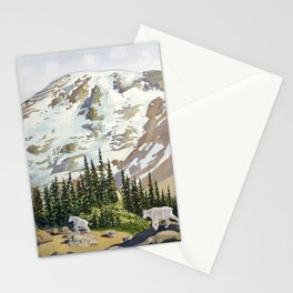 Mountain Goats at Mount Rainier Stationery Cards