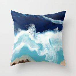 Tsambou, a beach on Samos island, Greece; Resin abstract painting Throw Pillow
