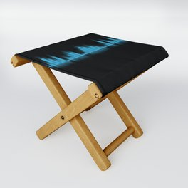 Cool Blue Graphic Equalizer Music on black Folding Stool