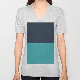 Minimal Horizontal Stripe Line Pattern Solid Color Navy Blue Over Aqua Teal Turquoise - Aquarium SW 6767 Unisex V-Neck