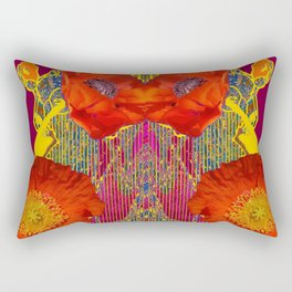 Modern Art Nouveau Orange-Burgundy  Poppy Flowers Rectangular Pillow