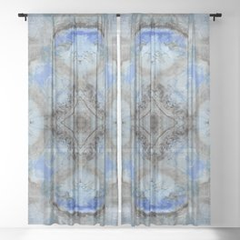 Ornate Pattern with Light Blue Accent Sheer Curtain