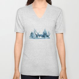 Blue marble abstraction Unisex V-Neck