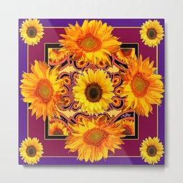 Ornate Burgundy Purple  Gold Sunflowers Art Metal Print