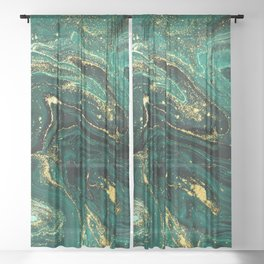 Abstract Pour Painting Liquid Marble Dark Green Teal Painting Gold Accent Sheer Curtain