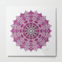 12-Fold Mandala Flower in Pink Metal Print