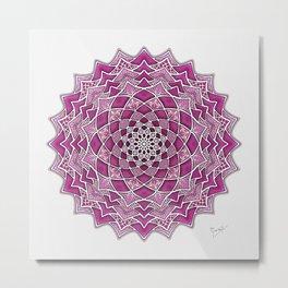 12-Fold Mandala Flower in Pink Metal Print
