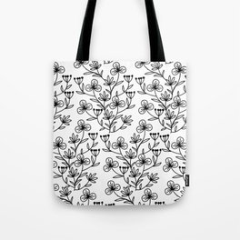 Black and white pattern of painted flowers Tote Bag