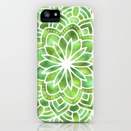 Mandala Green Leaves iPhone Case