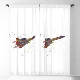 SR-71 blackbird american fighter plane in watercolor Blackout Curtain