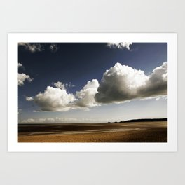 Blue sky and clouds over Swansea Bay Art Print