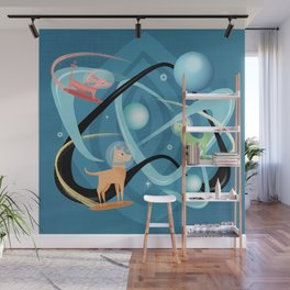 Atomic Rocket Powered Space Dogs Wall Mural