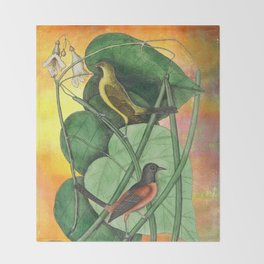 Orioles with Catalpa Tree, Natural History, Vintage Botanical Collage Throw Blanket